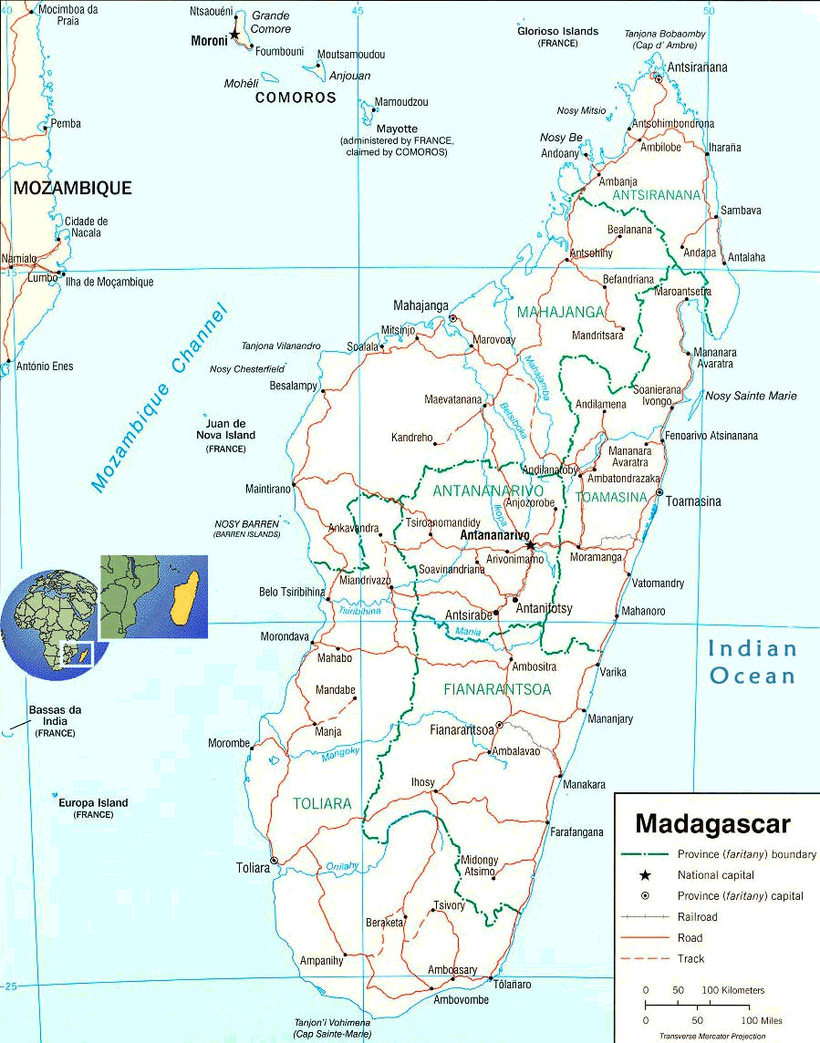 Madagascar Political Map Mapsofnet