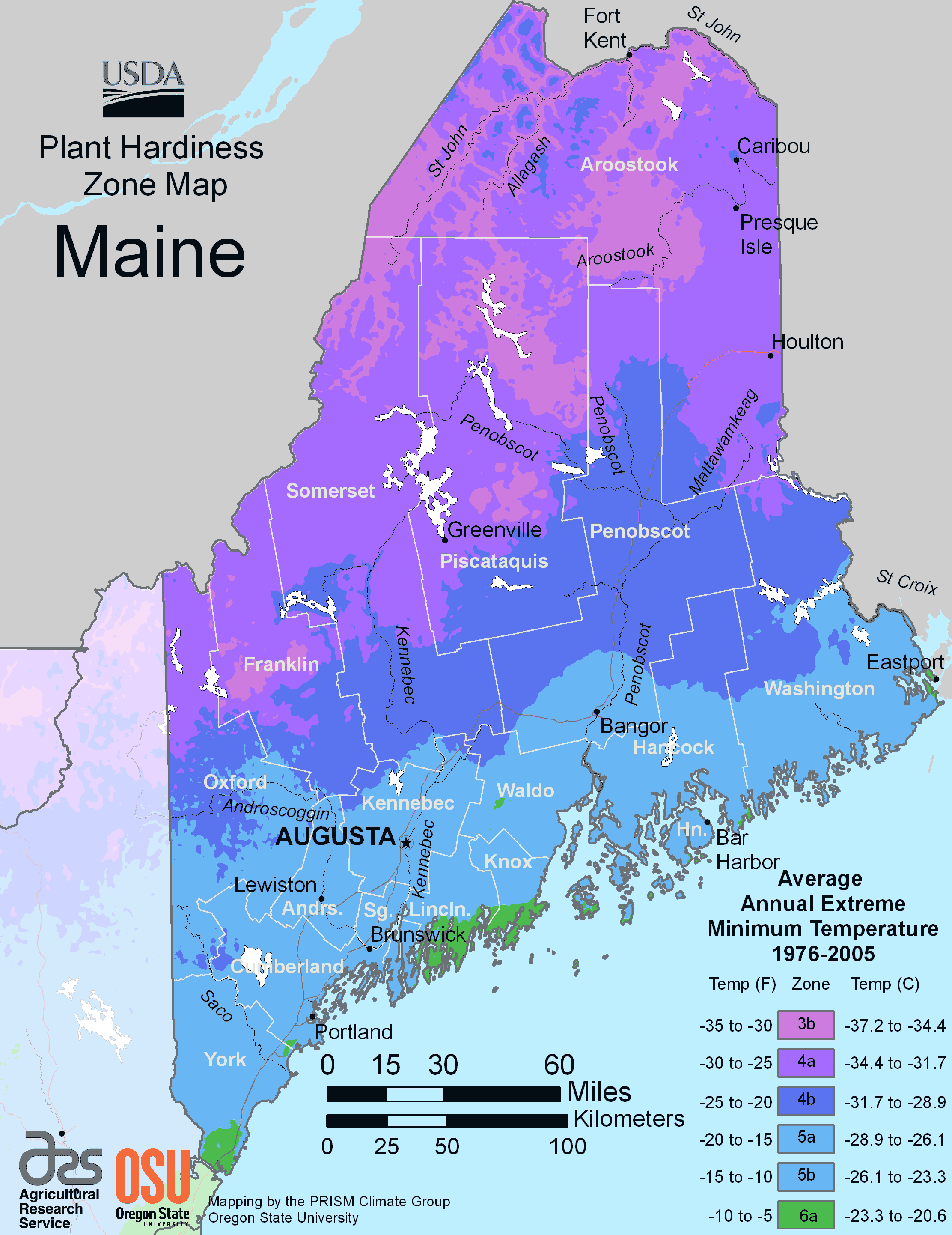 Population Map Of Maine Maine Plant Hardiness Zone Map • Mapsof.net