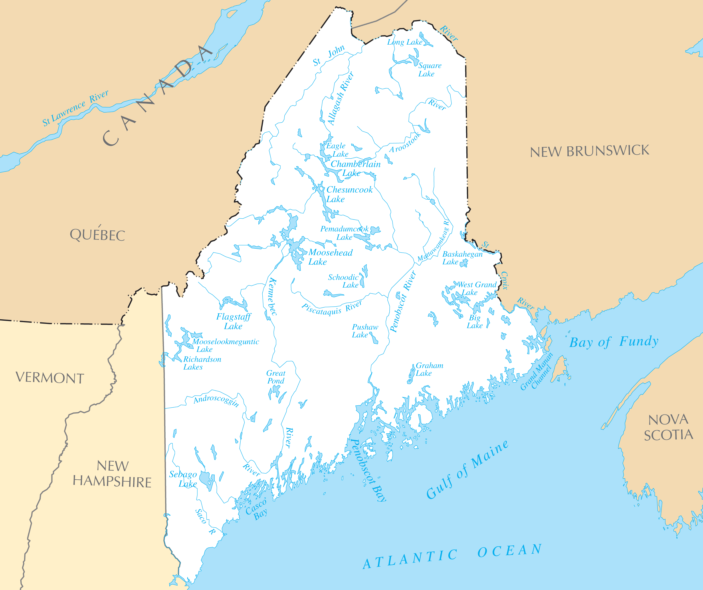 Map Of Maine Lakes.Maine Rivers And Lakes Mapsof Net