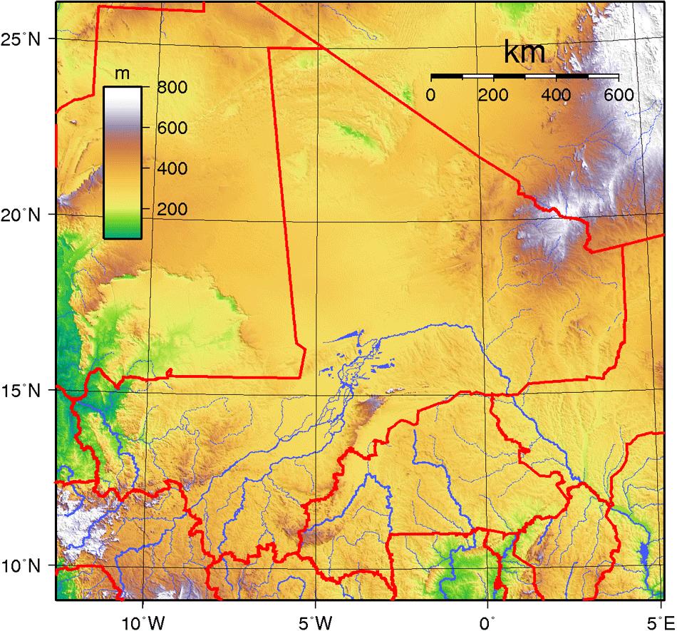 Mali Topography • Mapsof.net