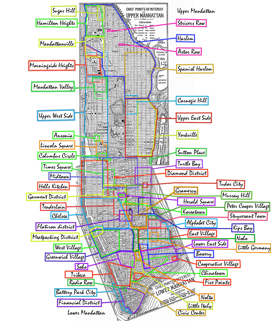 Manhattan Neighborhoods large map