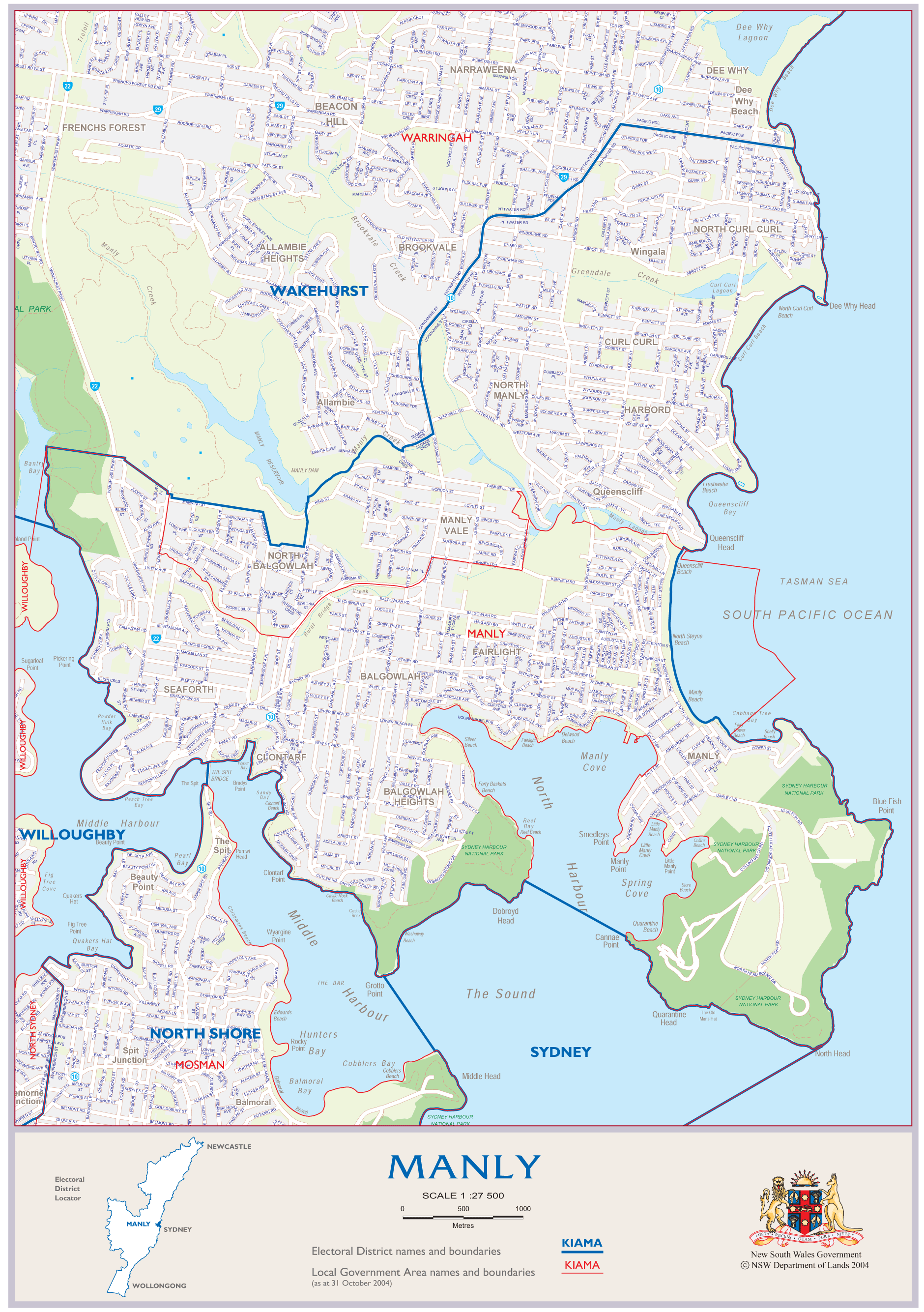Manly Australia Map large map