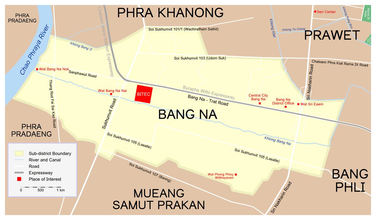 Map Bang Na large map