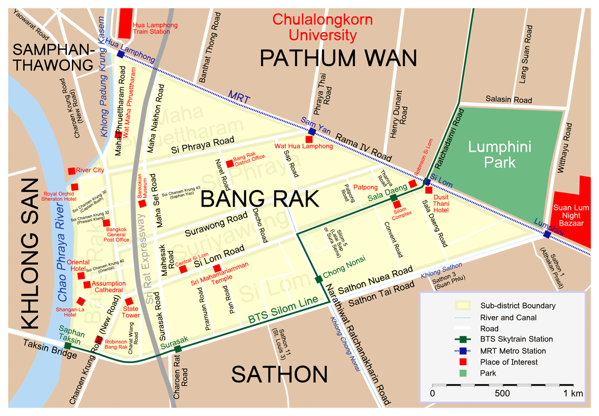 Map Bang Rak large map