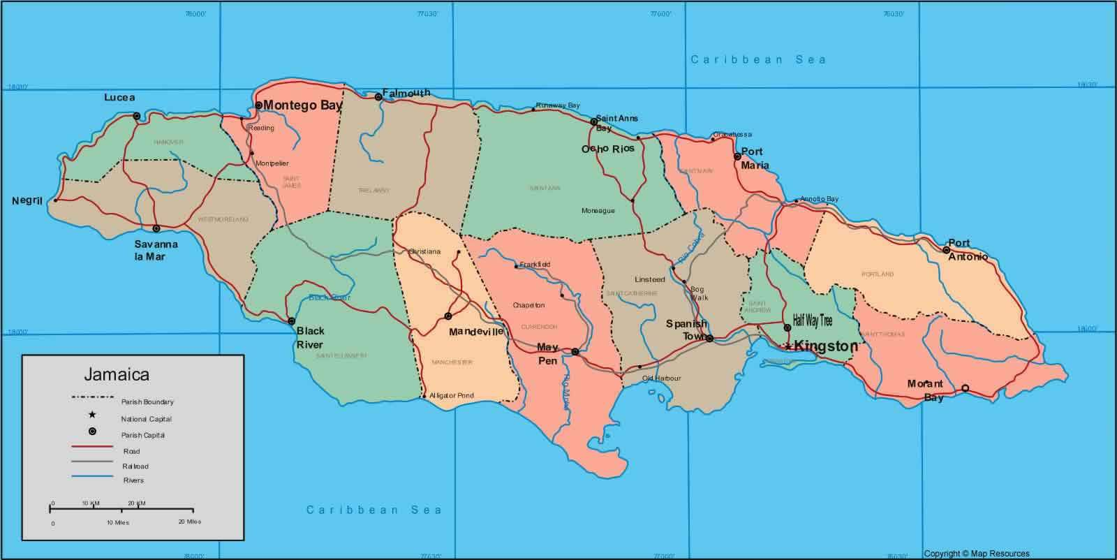 Map Jamaica Mapsofnet - Jamaica map