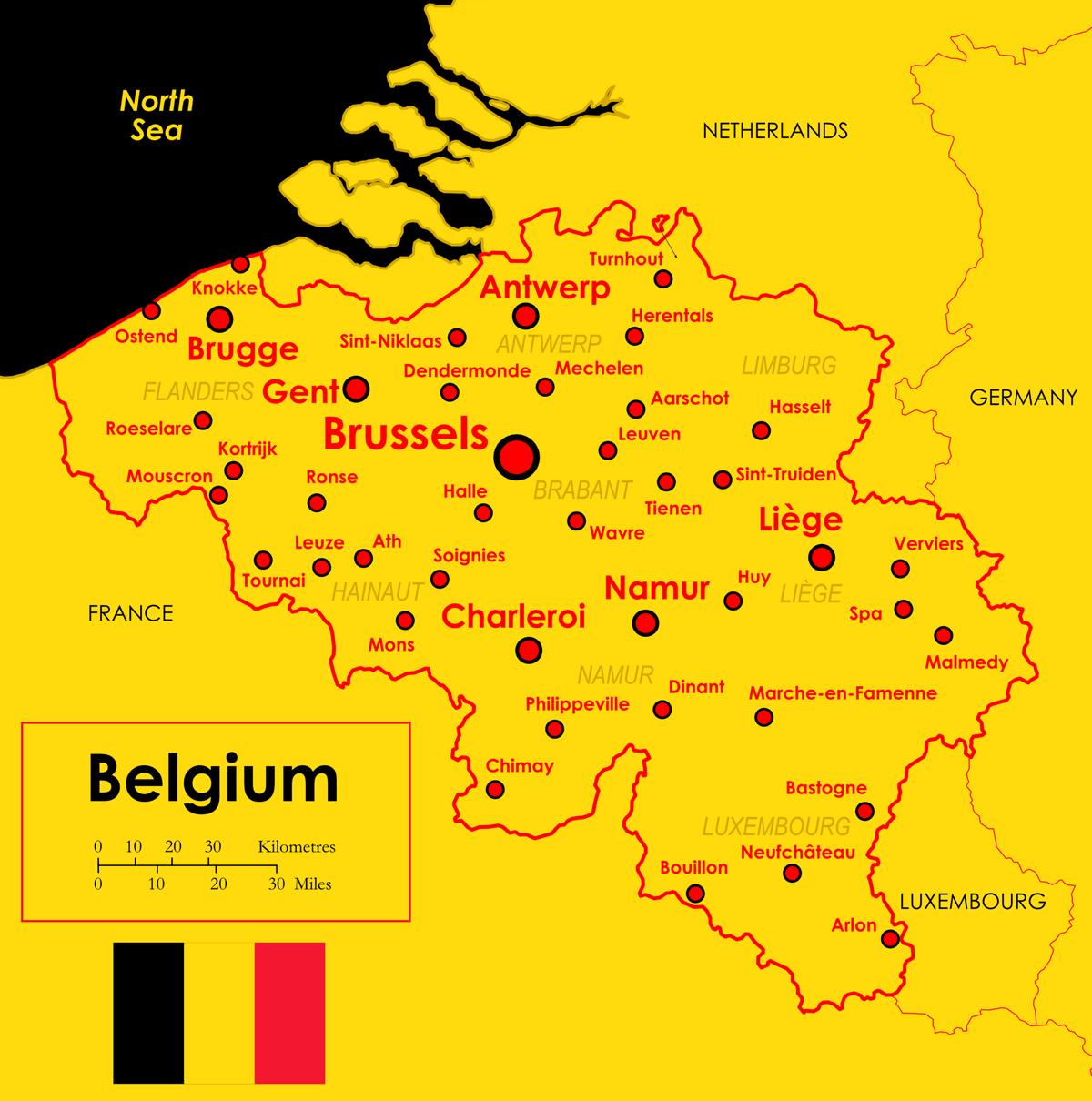 Map Mapa Belgii Belgium large map