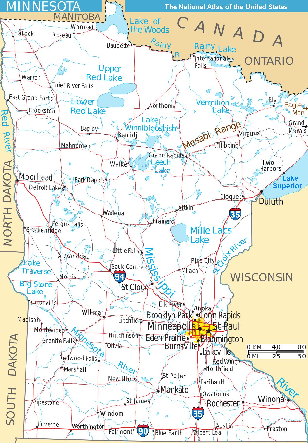 Map Minnesota West Na • Mapsof.net