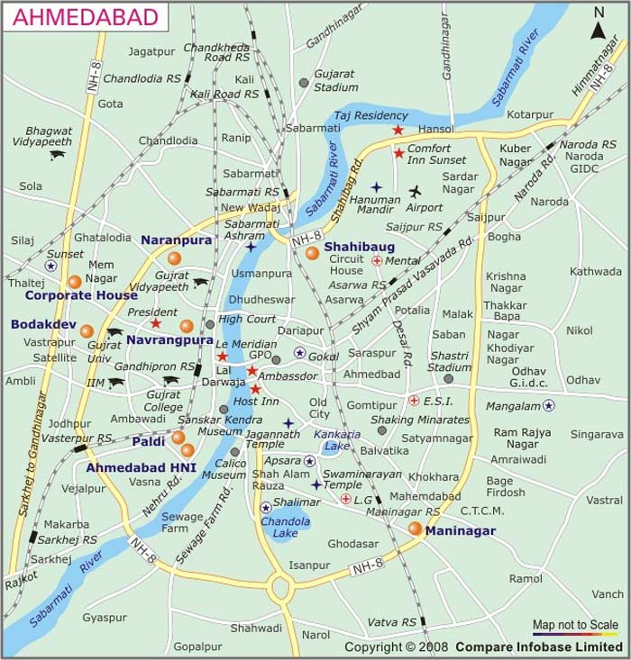 Map of Ahmedabad Mapsofnet