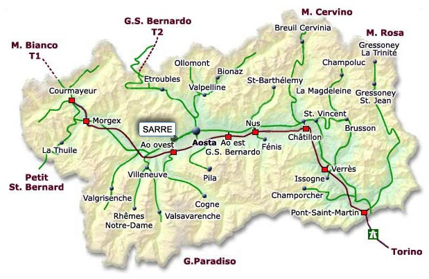 Map of Aosta Valley 2 Mapsofnet
