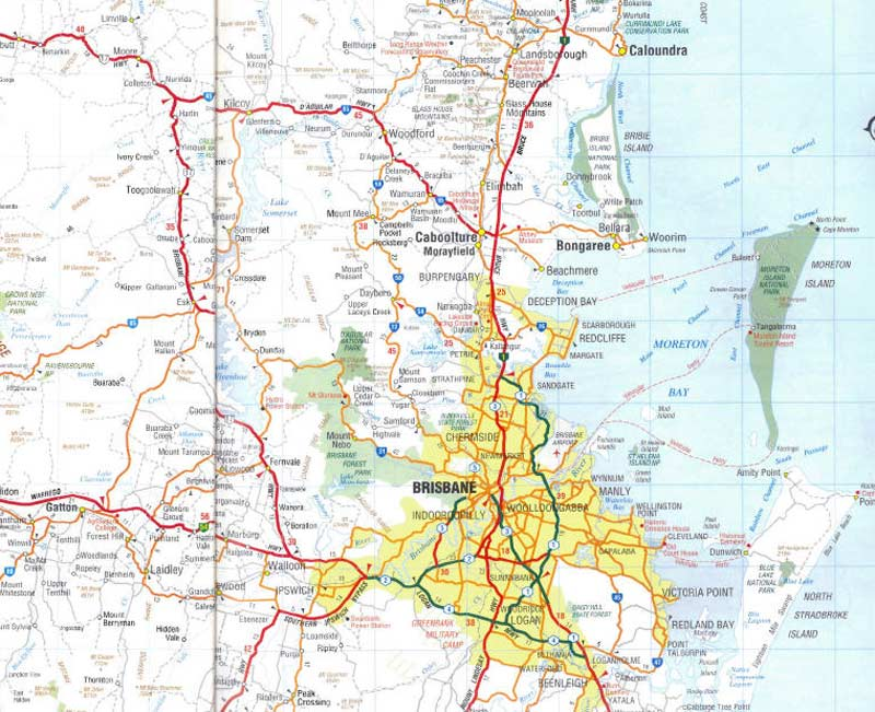 Map of Brisbane large map