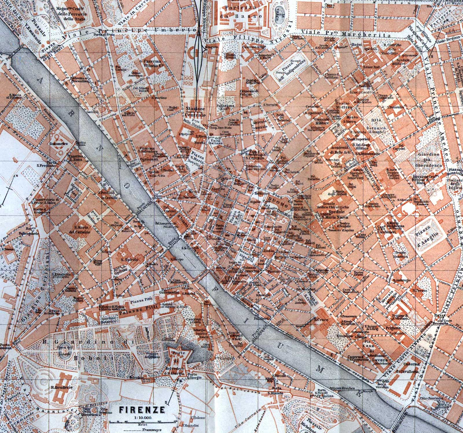 Map of Florance (firenze) large map