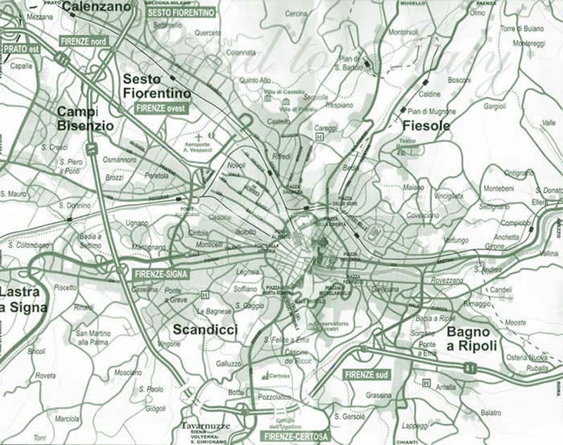 Map of Florance (firenze) City large map