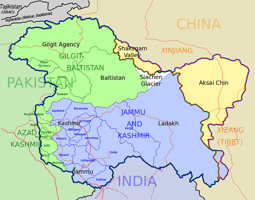 Map Of Kashmir large map