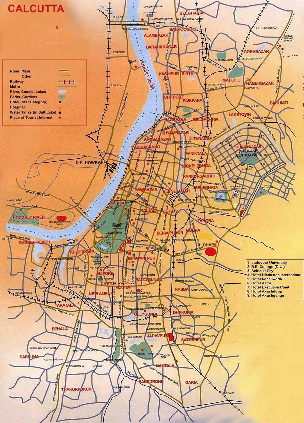 Map of Kolkata large map