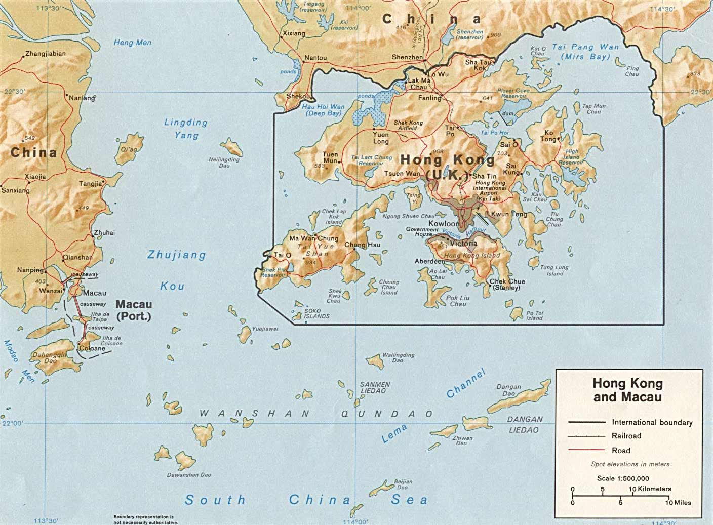 Map of Macau And Hong Kong large map