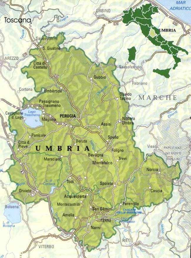 Map of Umbria 1 large map