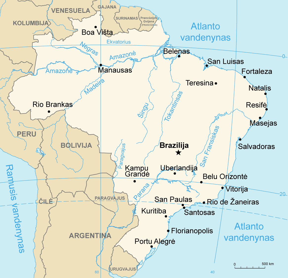 Map Of Brazil Lithuanian Mapsofnet - Map of brazil with cities