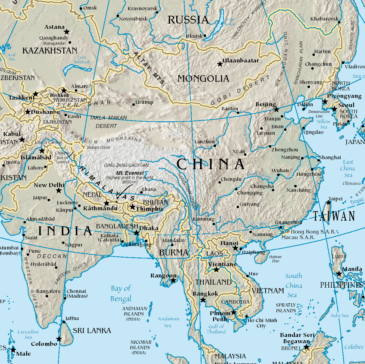 Map of China (physical) 1 large map
