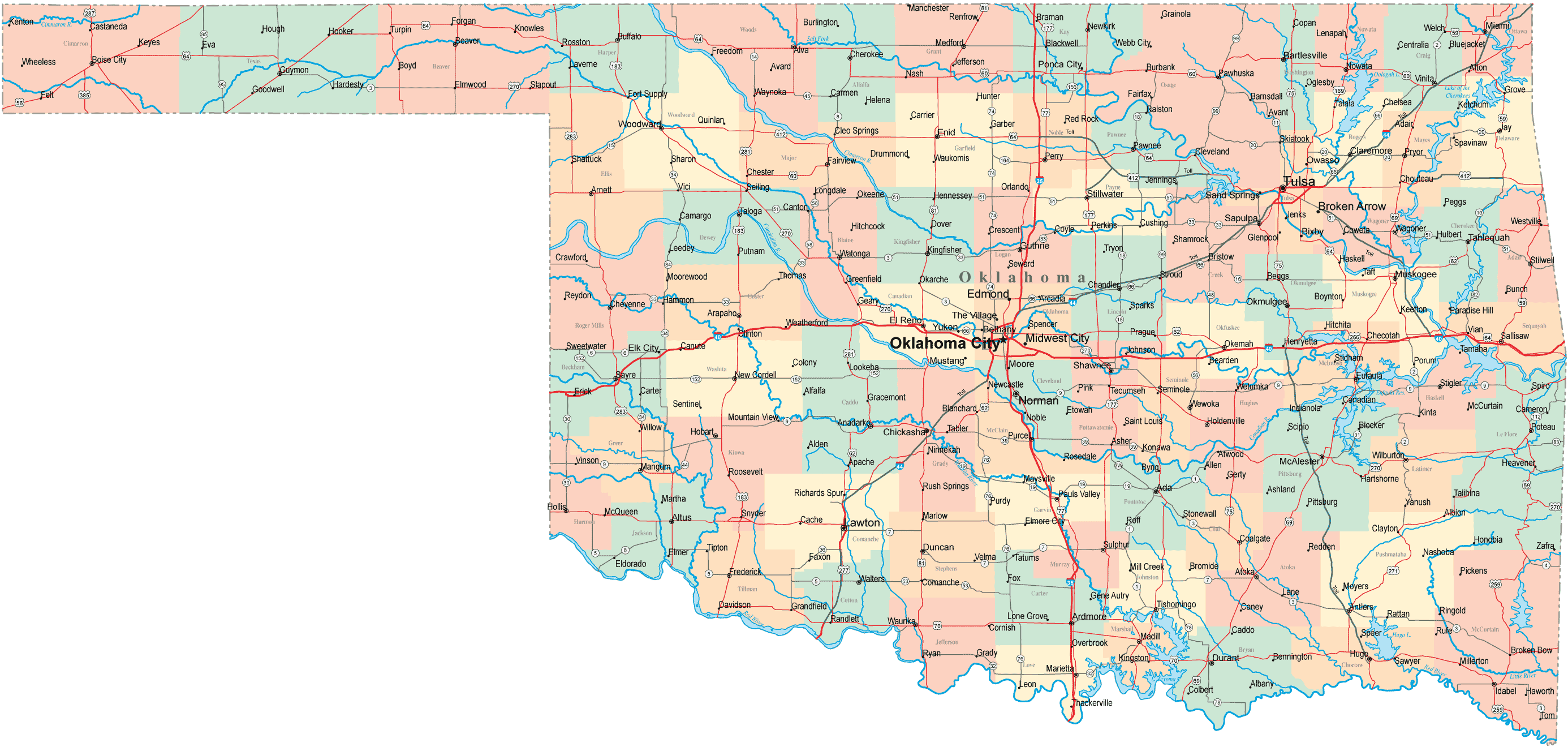 Map of Cities Counties In Oklahoma large map