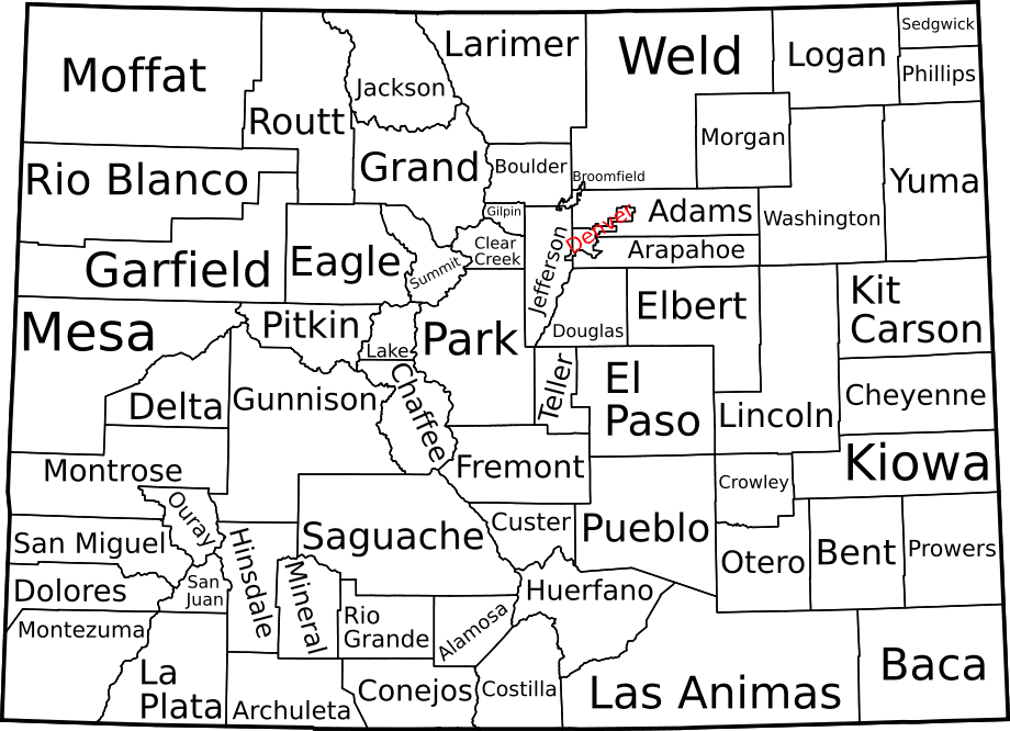 Map of Colorado Counties, Labelled large map