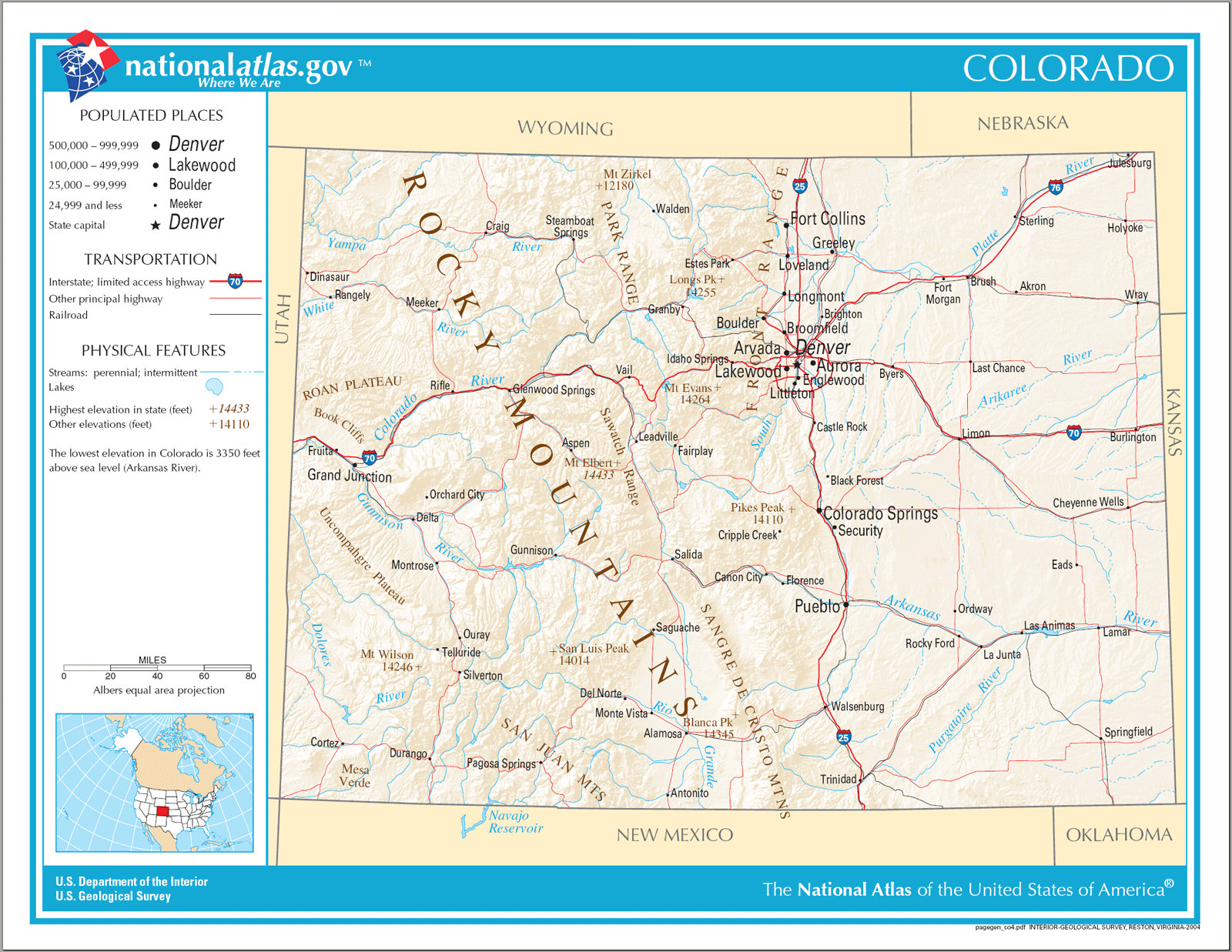 Map of Colorado Na large map