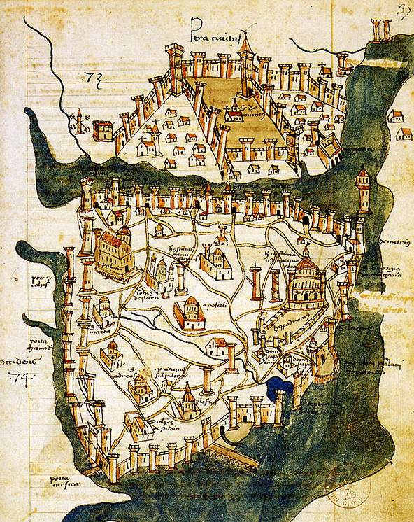 Map of Constantinople (1422) By Florentine Cartographer Cristoforo Buondelmonte large map
