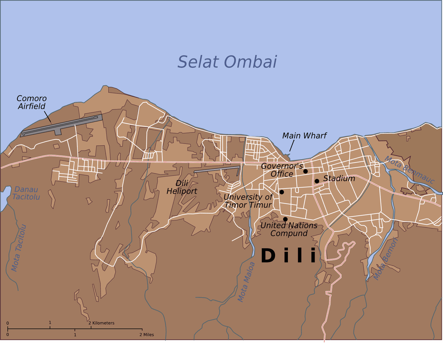 Map of Dili City Center large map