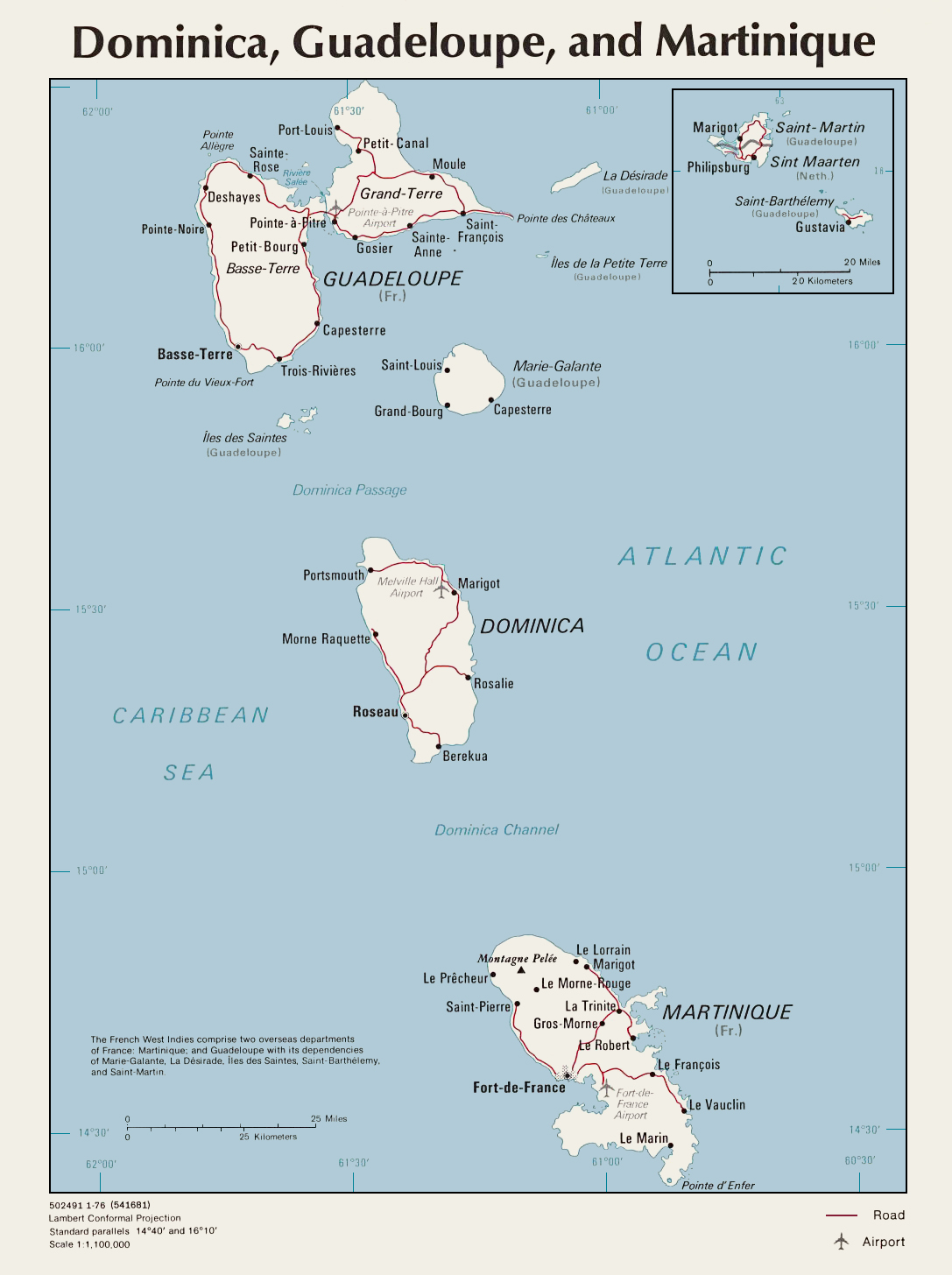 Map of Dominica Guadeloupe And Martinique large map
