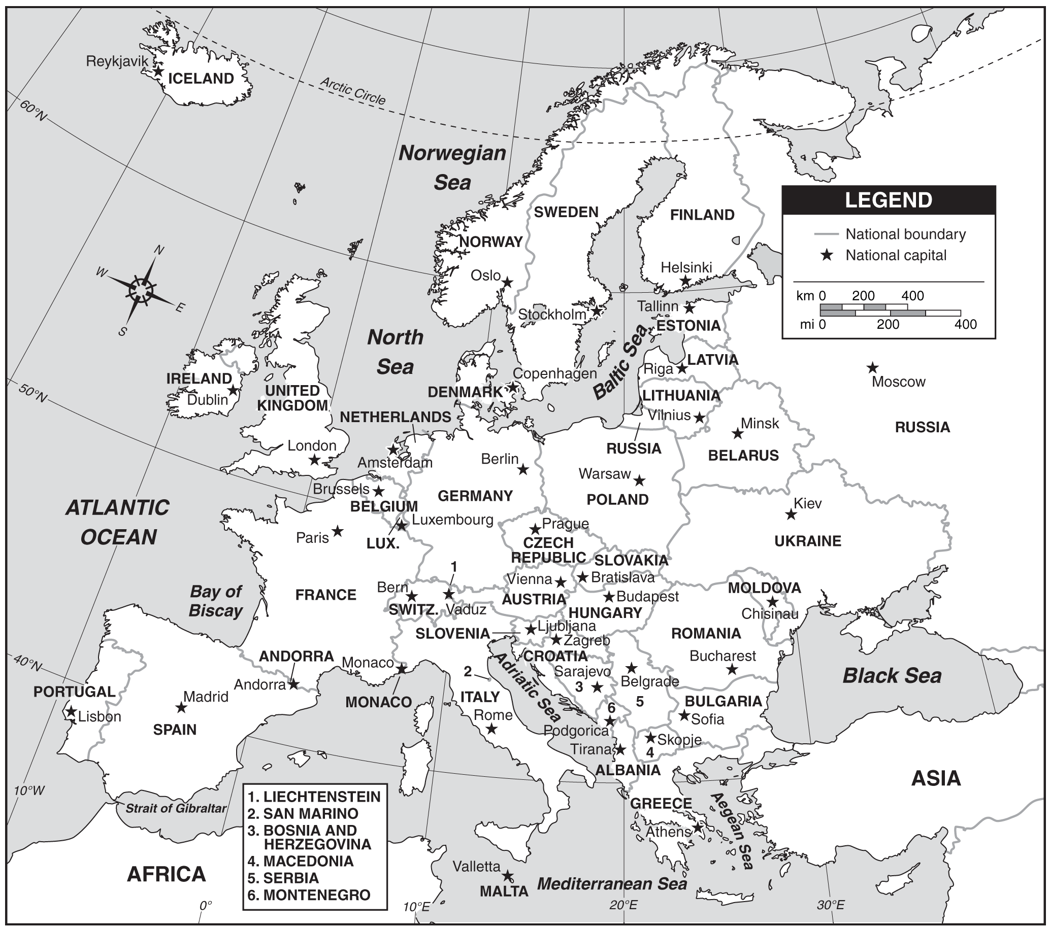 Map of Europe With Capitals large map