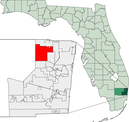 Map of Florida Highlighting Coral Springs large map