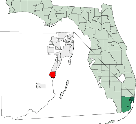 Map of Florida Highlighting Cutler Bay large map