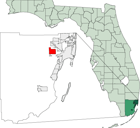 Map of Florida Highlighting Doral large map