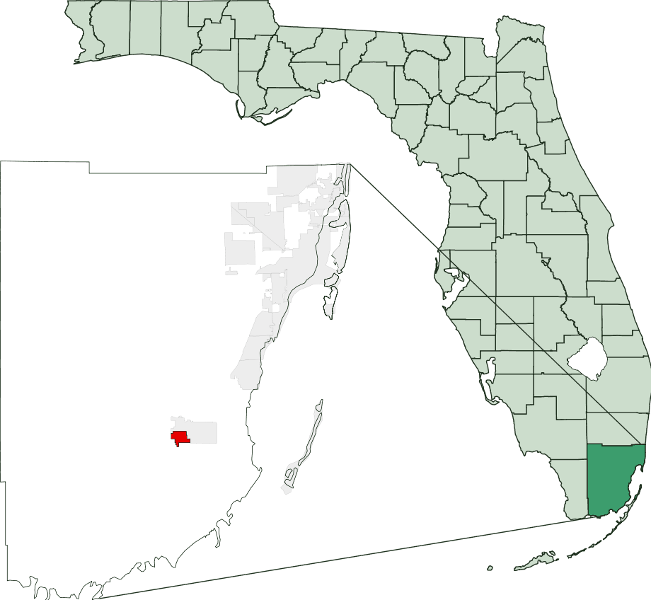 Map of Florida Highlighting Florida City