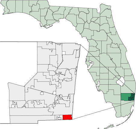 Map of Florida Highlighting Hallandale large map