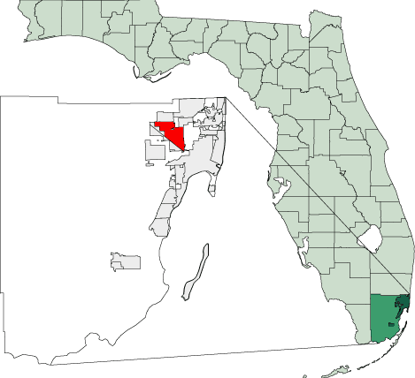Map of Florida Highlighting Hialeah large map
