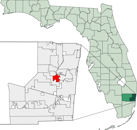 Map of Florida Highlighting Lauderdale Lakes large map