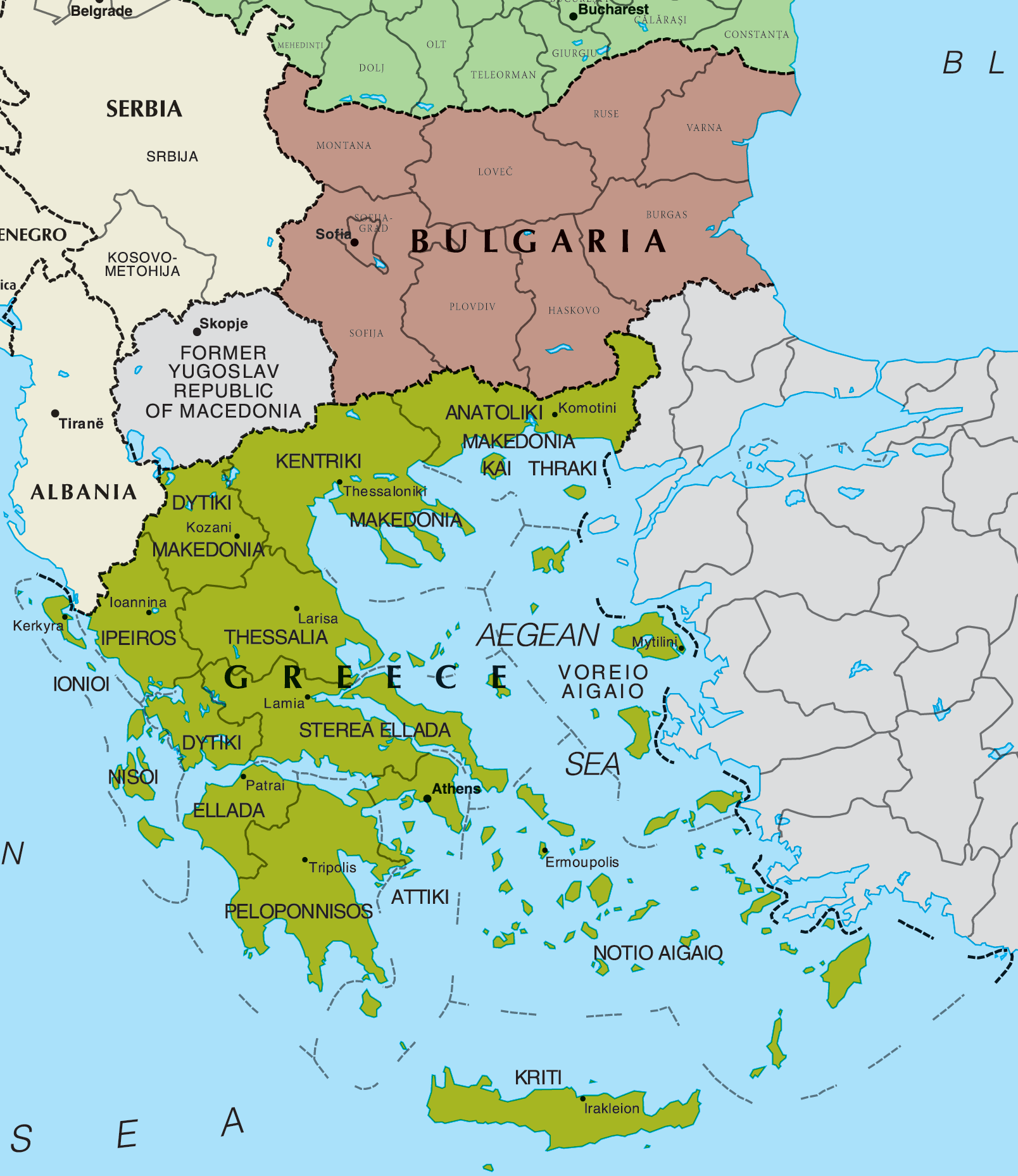 Map of Greece And Bulgaria large map