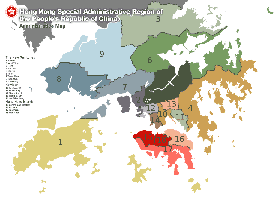 Map of Hong Kong 18districts En large map