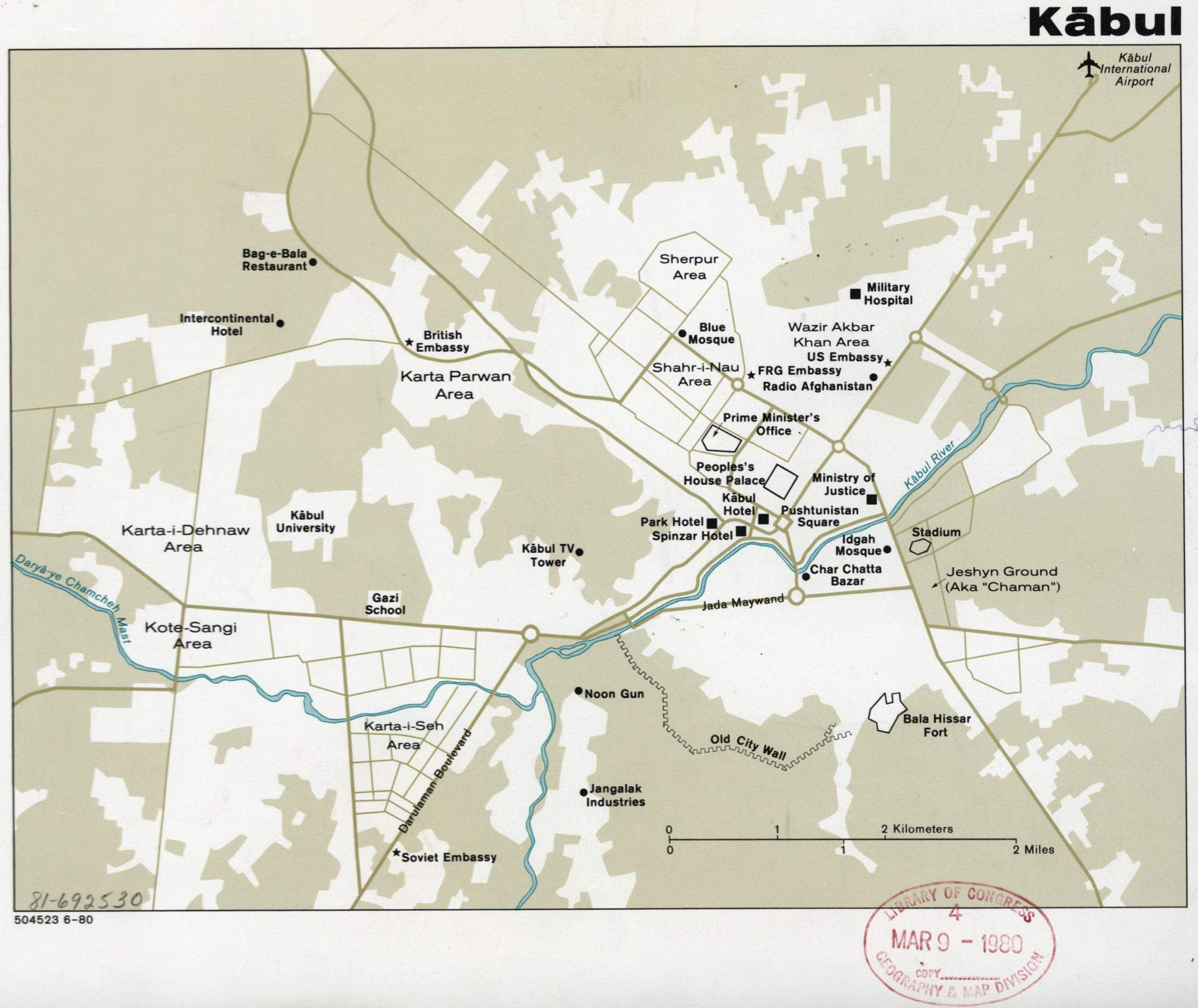 Map of Kabul, Afghanistan  Cia, 1980