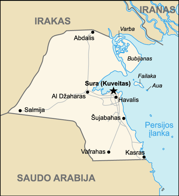 Map of Kuwait (lithuanian) large map
