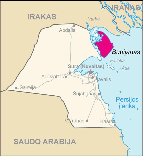 Map of Kuwait Bubijanas (lithuanian) large map