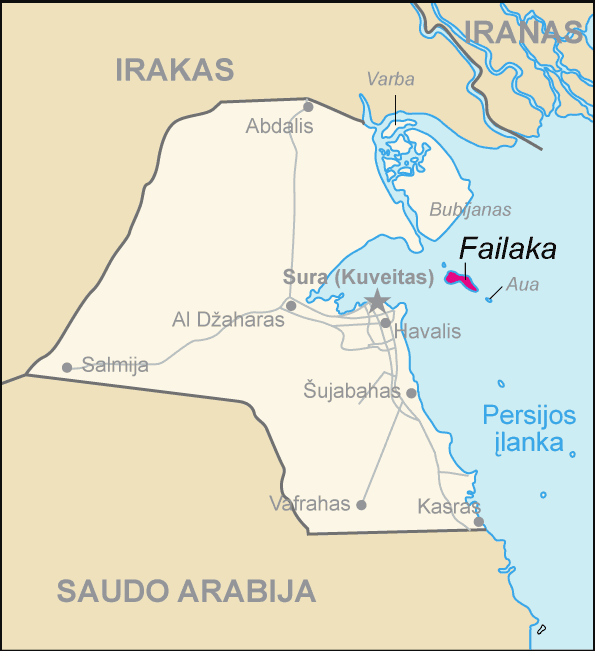 Map of Kuwait Failaka (lithuanian) large map