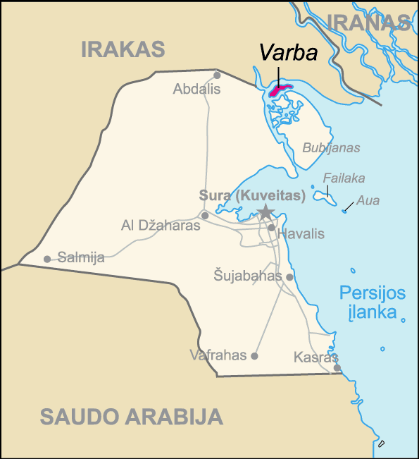 Map of Kuwait Varba (lithuanian) large map