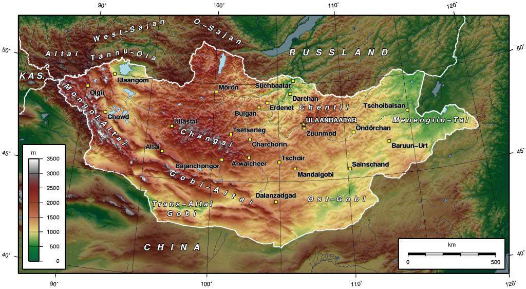 Map of Mongolia Topographic De large map
