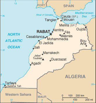 World Map Morocco