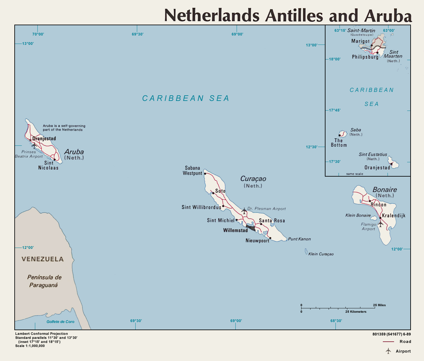 Map Of Netherlands Antilles And Aruba Mapsofnet - Map of netherlands antilles world