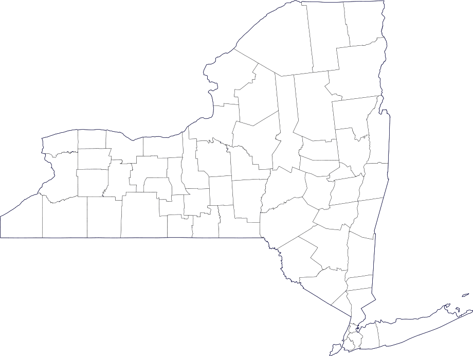 Map of new york county outlines new york maps