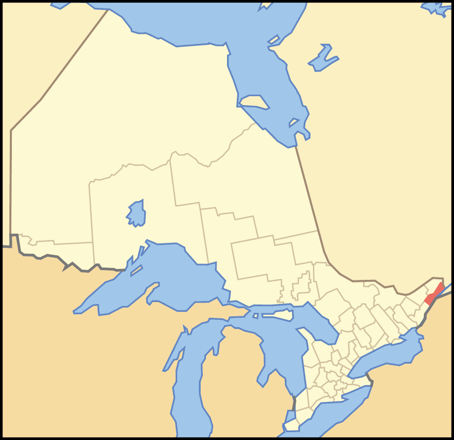 Map of Ontario Stormont Dundas And Glengarry large map