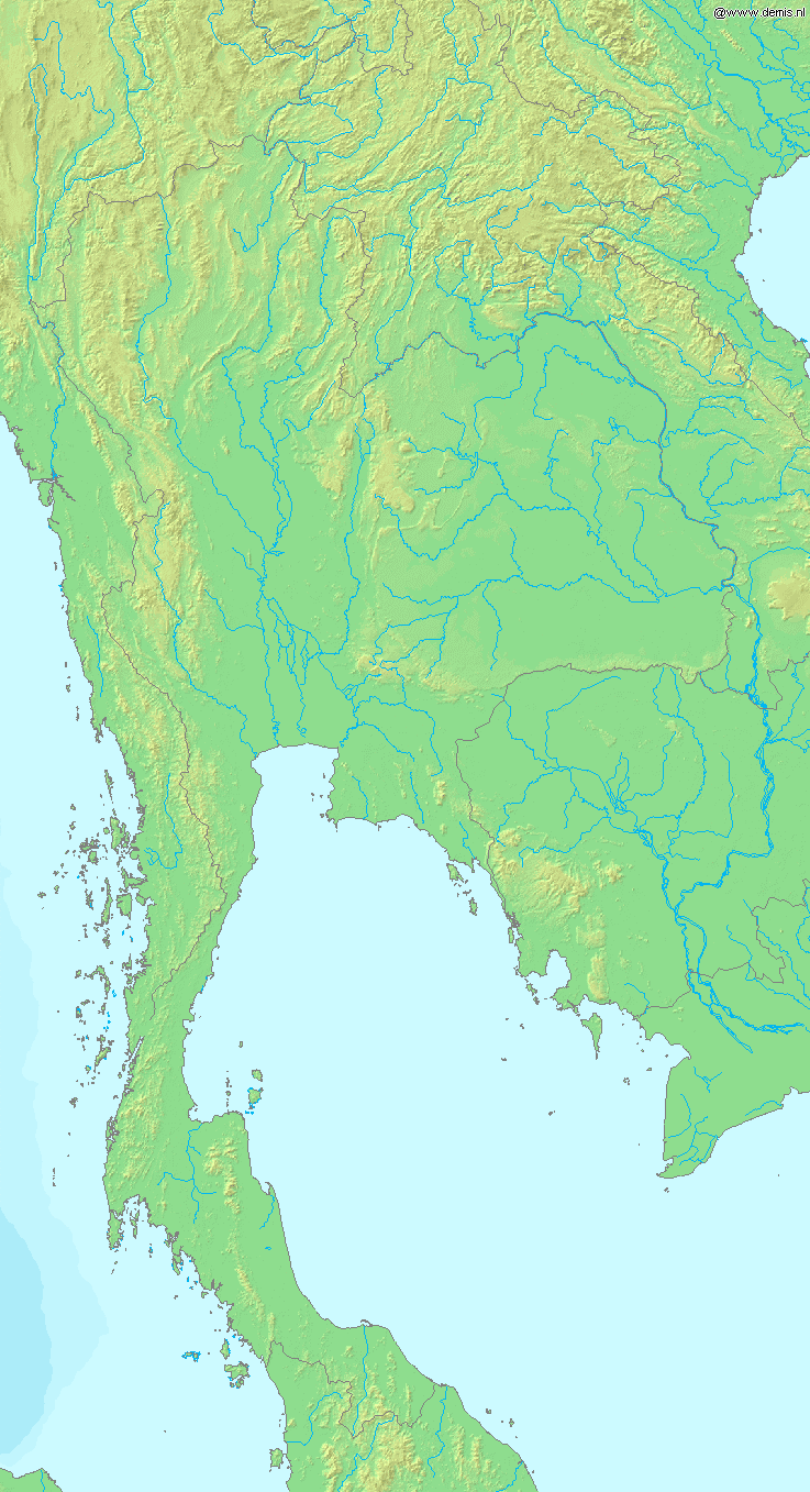 Map of Thailand Demis large map