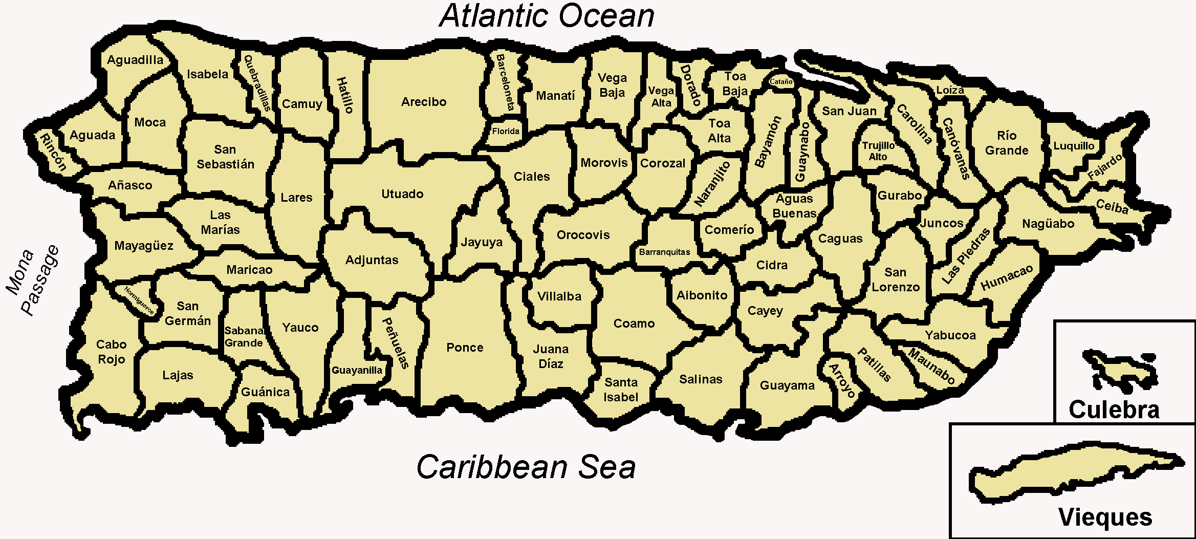 Map of the 78 Municipalities of Puerto Rico large map